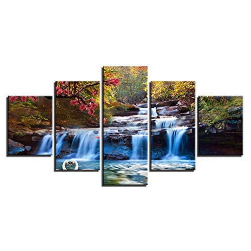 YXAZXR Wall Art Canvas Painting Home Decor 5 Pieces Forest Lake Waterfall Scenery Pictures Tree Flower Swan Poster Home Decor