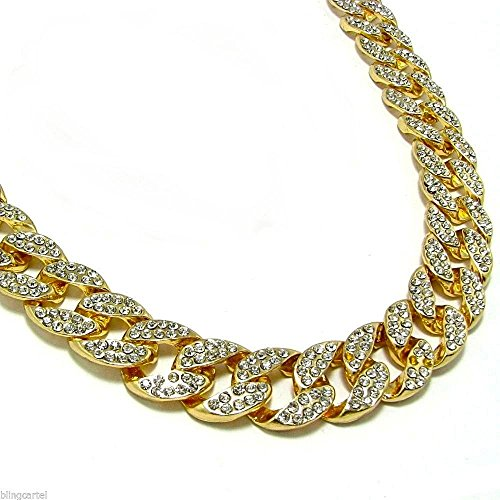 Mens Iced Out 14k Yellow Gold Finish Rapper's Miami Cuban Link Chain 15mm 36