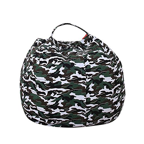 Durable Kids Bean Bag Chair Stuffed Animal Storage,Ehonestbuy Cotton Canvas Toy Organizer for Child Bedroom, Storage Solution for Plush Toys, Towels (Camouflage, Diameter 18 Inches)