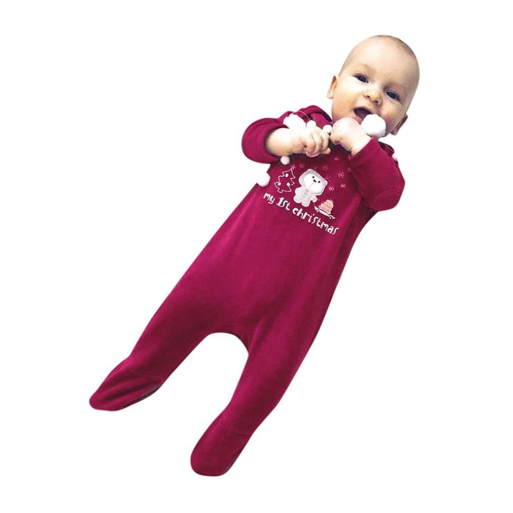 Bear Rompers Jumpsuit Outfit Clothes Christmas, romance8 Newborn Baby Girls Boys Letter (Red, 3M)