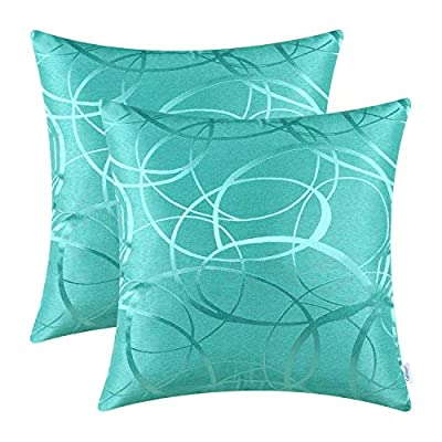 Pack of 2 CaliTime Cushion Covers Throw Pillow Covers Cases for Couch Sofa Home Decor, Modern Circles Rings Geometric