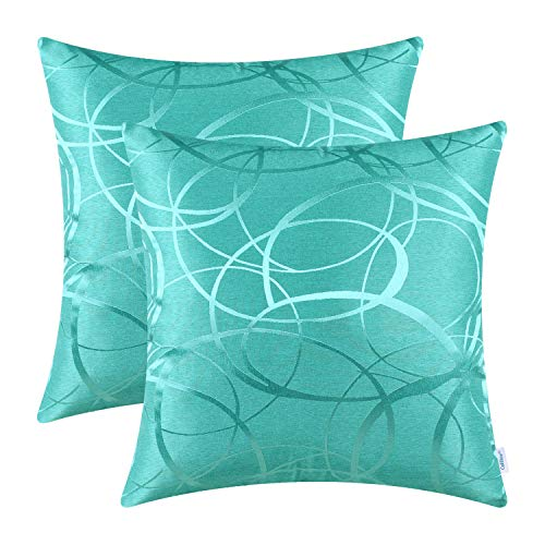 CaliTime Pack of 2 Cushion Covers Throw Pillow Cases Shells for Couch Sofa Home Decor Modern Shining & Dull Contrast Circles Rings Geometric 18 X 18 Inches Turquoise
