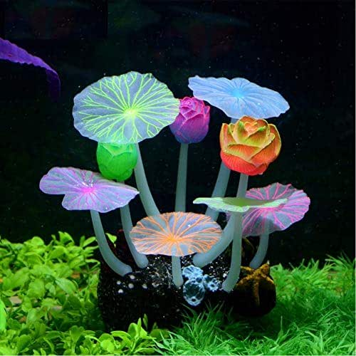 Stock Show Glowing Effect Artificial Silicone Plant Lotus Flower with Leaves Mushrooms for Fish Tank Decoration Aquarium Ornament, 3Lotus&6Lotus Leaves
