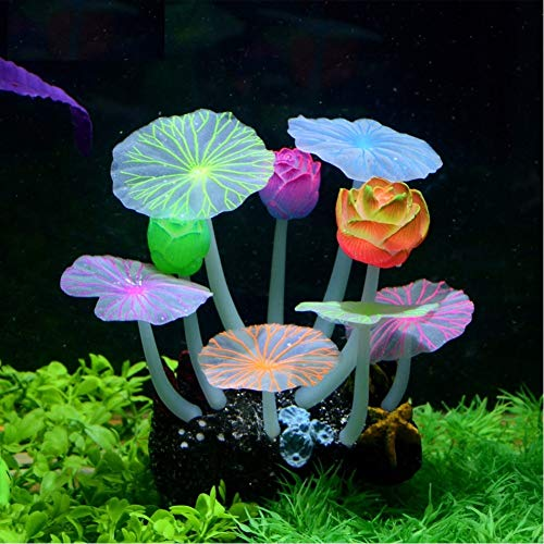 (Stock Show Glowing Effect Artificial Silicone Plant Lotus Flower with Leaves Mushrooms for Fish Tank Decoration Aquarium Ornament, 3Lotus&6Lotus Leaves)