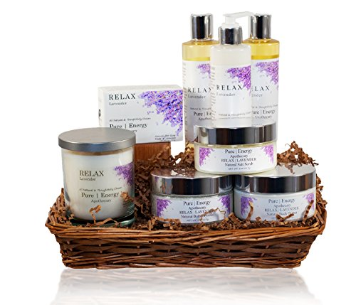 Pure Energy Apothecary : Premium Spa Collection Gift Set # 7 Lavender with Basket