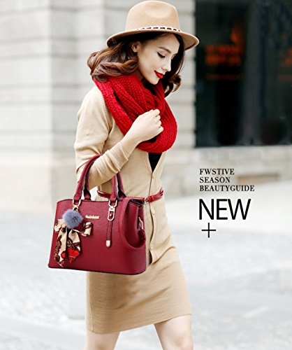 Bag for Totes amp;Doris Soft Satchel Black Ornament Handbag Wine Nicole Shoulder Crossbody Red Women PU 1YwqaH