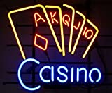 Cozyle Glass Bright Neon Light Casino Neon Sign 17''x14'' Real for Poker Club Bar Game Room Casino