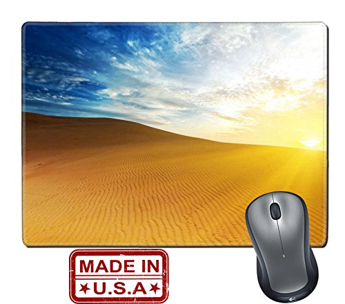 "Liili Natural Rubber Mouse Pad/Mat with Stitched Edges 9.8"" x 7.9"" Sandy desert at sunrise time Vietnam Mui ne Photo - Logo Mui Mui"