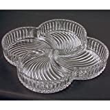 Godinger Shannon Contour Crystal Relish Tray - Divided 4-part