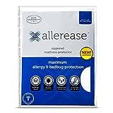 AllerEase Maximum Allergy and Bedbug Waterproof Zippered Mattress Protector - Vinyl Free & Hypoallergenic - 10 Year Warranty, Queen