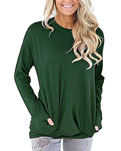 Green Army Maniche Tops Tshirt Manica Lunga Magliette Casual Donna Lunghe Camicia Zixing Casuale PqH447