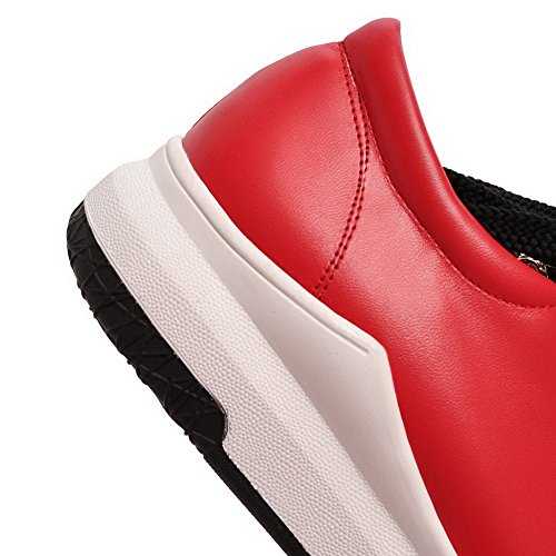Lace Heel Up Womens AllhqFashion Pumps No Shoes Solid Toe Round Red PU OSaxw