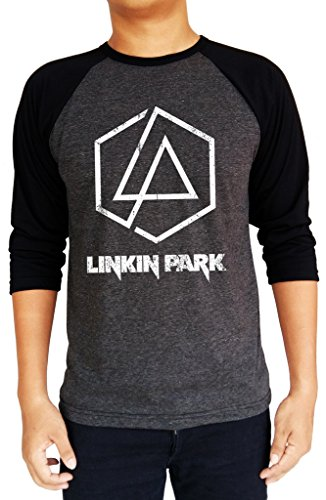 Linkin Park 2017 New Hexagon Logo Baseball Tee Raglan 3/4 Sleeve Men's T-Shirt Medium Charcoal Black/Black