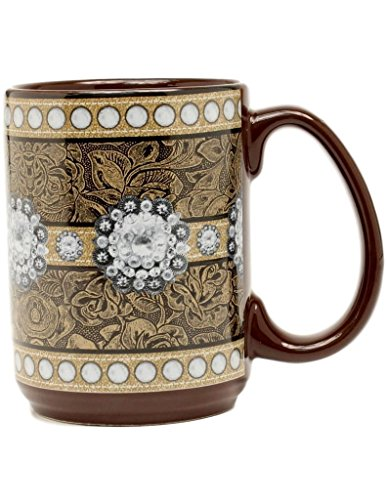 MF WESTERN MOMENTS FLORAL STUDDED CONCHO COFFEE MUG 16OZ BROWN