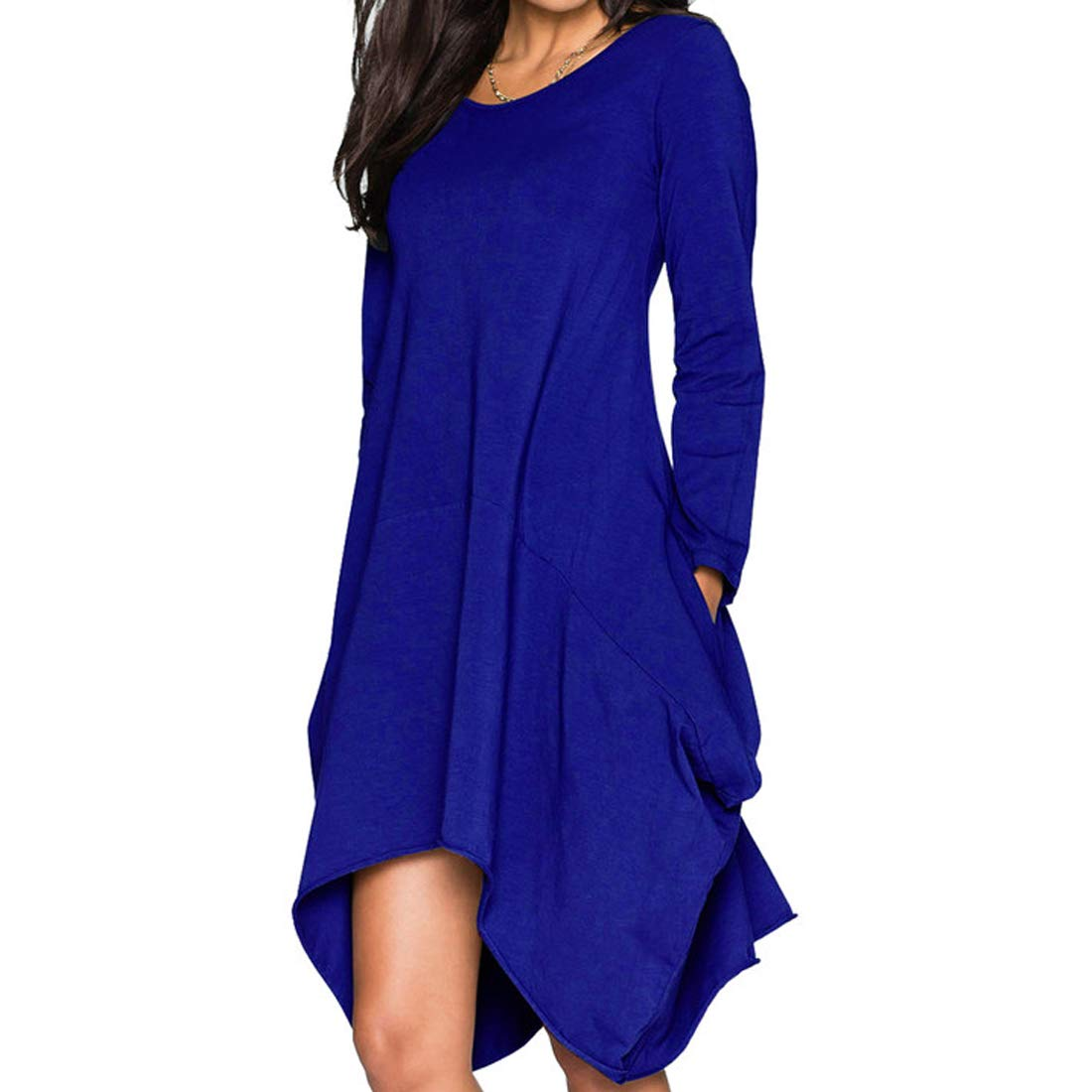 Women's Long Sleeve 2 Pockets Plain Midi Dress Loose Swing Casual Maternity Outfit RoyalBlue L