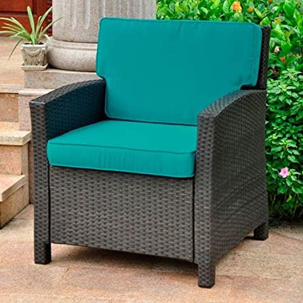 Astonishing International Caravan Valencia Outdoor Patio Chair In Antique Black And Aqua Blue Beatyapartments Chair Design Images Beatyapartmentscom