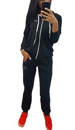Jogging Suit Mujer Chándal con Manga Liso Larga Color Cremallera ...
