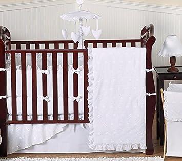 Sweet Jojo Designs 9 Piece Designer Solid All White Eyelet Baby Girl Bedding Crib Set