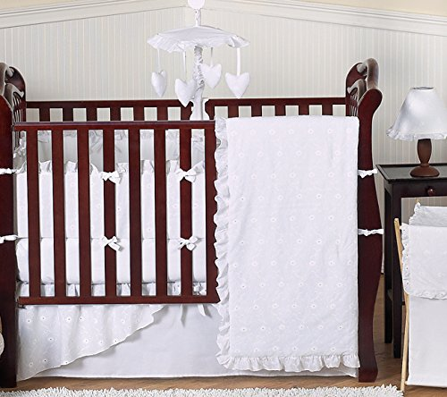 Sweet Jojo Designs 9-Piece Designer Solid all White Eyelet Baby Girl Bedding Crib Set (Bassinet White Eyelet Bedding)