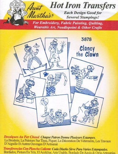 Clancy the Clown Aunt Martha's Hot Iron Embroidery -