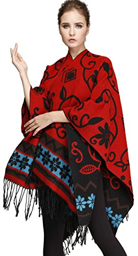 Seawhisper Women Long Sleeve Paisley Oversized Cardigan Open Red Black Red (Reversible Long Sleeve Top)