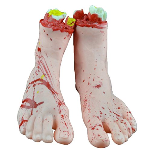 1 Pair Halloween Props Severed Hands Severed Foot Horror Bloody Decoration Supplies Practical Joke for Haunted House Party Masquerade (Halloween Animatronics Uk)