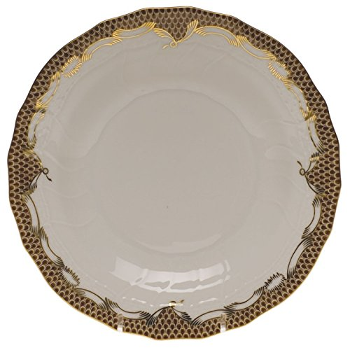 Herend China Fish Scale Brown Dessert Plate