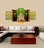 Premium Quality Canvas Printed Wall Art Poster 5 Pieces/5 Pannel Wall Decor Lord Ganesha yellow Painting, Home Decor Pictures - With Wooden Frame
