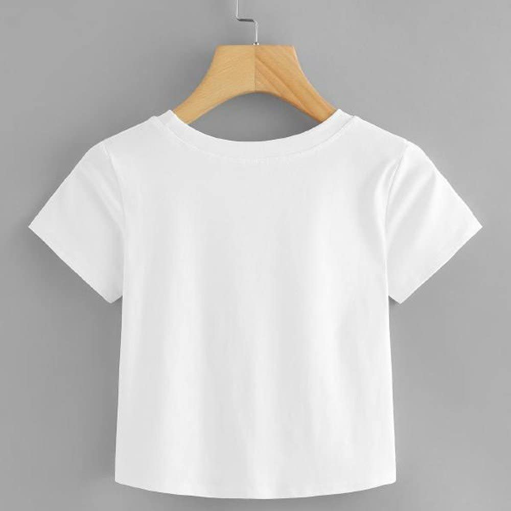 Kaitobe Women/'s Round Neck Twist Knot Short Sleeve Basic Crop Top T-Shirt Casual Tee Tops Blouse for Teen Girls