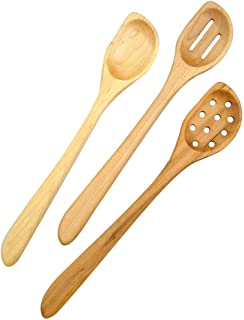 product image for American Made Natural Hard Maple Wood Angled Cooking and Mixing Spoons, Set of 3 (Left Handed Version)