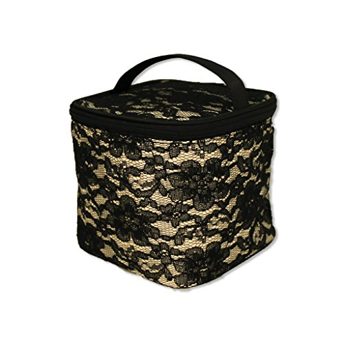 Mia Cosmetic bag bucket bag - Light Gold Satin (5Th Color) With Black Lace Overlay; Black Zipper And Black Satin Puller; Mia Logo Hangtag; Waterproof Inside; 5.25