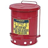 Justrite 9300 10 gal Red Galvanized Steel Oily Waste Can With Foot Lever Opening Device, English, 15.34 fl. oz, Plastic, 17'' x 19'' x 17''