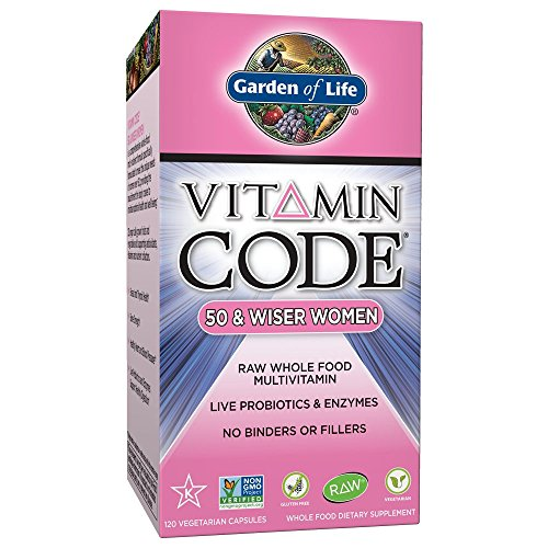Garden of Life Multivitamin for Women - Vitamin Code 50 & Wiser Women's Raw Whole Food Vitamin Supplement with Probiotics, Vegetarian, 120 Capsules
