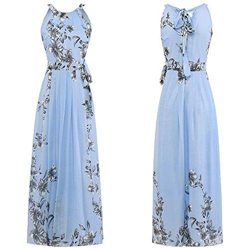 Vestido Suelto Chiffon Mujer Vestidos Fiesta Con Mujeres Para Fiesta Péndulo Mujer De JIALELE Para Blue Imprime Vestido 0qwZxUzpv