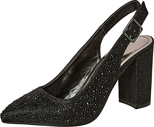 (Cambridge Select Women's Pointed Toe Glitter Crystal Rhinestone Slingback Block Heel Pump,8 B(M) US,Black)