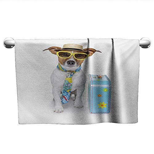 Dog,Bath Sheet Traveler Funny Dog Dressed as a Tourist with Hat Glasses Necktie and a Floral Suitcase Microfiber Sports Multicolor W 14