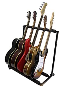 zenison 5 guitar stand multiple five instrument display rack folding padded. Black Bedroom Furniture Sets. Home Design Ideas