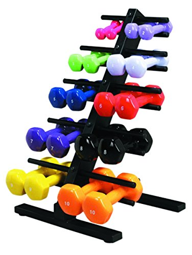 CanDo Fitness Gym vinyl Coated Dumbbell 10-Piece Set with Floor Rack 2 Each 1, 2, 3, 4, 5 by Cando