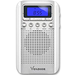 Digital AM / FM Portable Pocket Radio With Alarm Clock- Best reception and Longest Lasting. AM FM Compact Radio Player Operated by 2 AAA Battery, Stereo Headphone Socket,Perfect Father Gift by Vondior