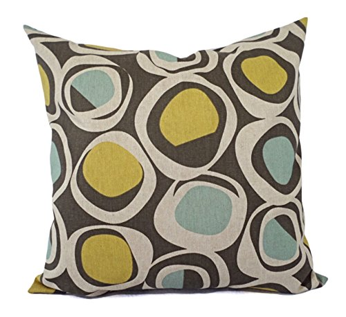 Yellow Blue and Beige Geometric Pillow Shams - Yellow Blue Pillow Covers - Linen Pillow Cases - Decorative Pillows - Accent Pillows