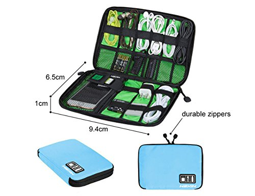 Portable Double Layer Travel Gear Cable Organizer Electonics Bags (Blue) (Car Battery Charger Wire)
