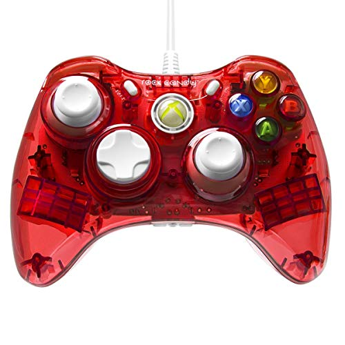 PDP Rock Candy Wired Controller for Xbox 360, Stormin' Cherry (Wired Xbox 360 Controller White)