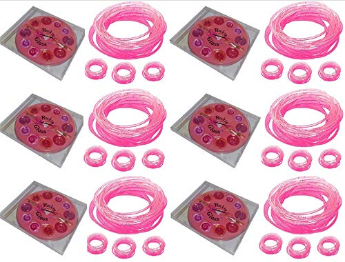 Just Girls Kids Party Pack Favors 6 Rockin' Shiny 10 Pallet Lip Gloss Make up and 6 Jelly Pink and Silver Bracelets and Rings Sets - 6 Individual CD Standard Size Case Make Up and 6 Wristband and Kits