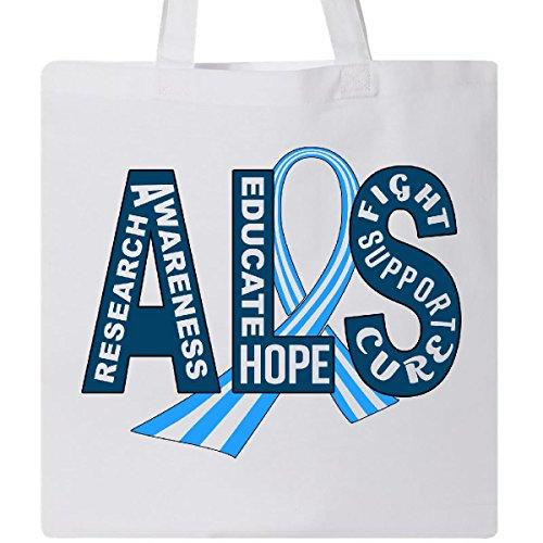 Inktastic - ALS Awareness ribbon Tote Bag White 29bd8 -