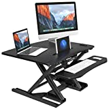 "LANGRIA Electric Standing Desk Variable Height Adjustable Sit-Stand Riser Converter, 31.5""x 24.5"" Tabletop Workstation Fits Two Monitors Up To 33 lbs, with Removable Keyboard Tray (Black)"