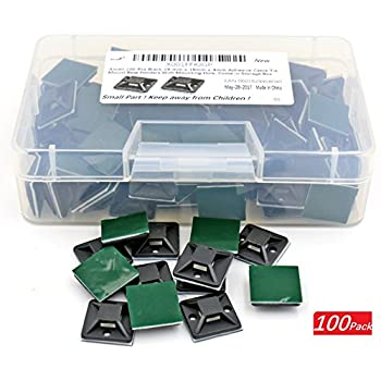 iExcell 100 Pcs Black 19 mm x 19mm x 4mm Adhesive Cable Tie Mount Base Holders With Mounting Hole, Come in a Storage Box
