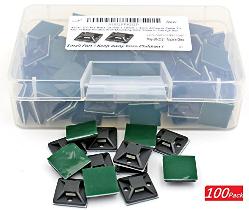 iExcell 100 Pcs Black 19 mm x 19mm x 4mm Adhesive Cable Tie Mount Base Holders With Mounting Hole, Come in Storage Box - Surface Mount Wire