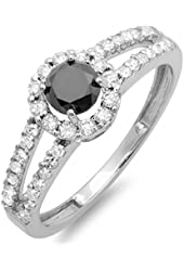 1.15 Carat (ctw) 14K White Gold Round Black and White Diamond Ladies Engagement Halo Style Bridal Ring