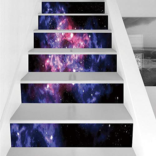 Stair Stickers Wall Stickers,6 PCS Self-adhesive,Space Decorations,Dusty Gas Cloud Nebula and Star Clusters in the Outer Space Cosmos Solar Deco Print,Navy Purple,Stair Riser Decal for Living Room, Ha by iPrint