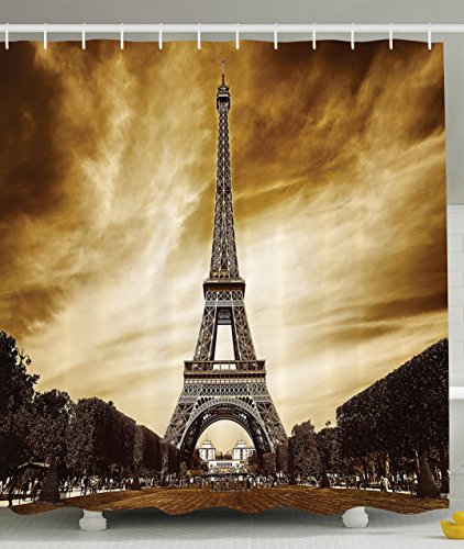 Paris Shower Curtain Eiffel Tower Decor by Ambesonne, Antique Landscape France Landmarks Vintage Picture Theme, Cloth Fabric Bathroom Set, 69 x 70 INches Long Brown Sepia (Brown Eiffel Tower)